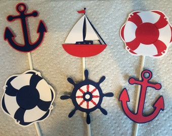 12 red, white, and navy nautical cupcake toppers