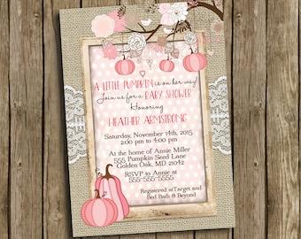 Girl Baby Shower Invitation Pink Rustic Pumpkin Fall Autumn Halloween Mason Jar Tree Burlap Lace Shabby Printable Custom Digital