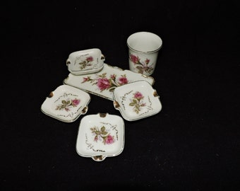 Vintage Royal Sealy Moss Rose Smoking Set