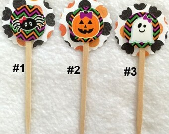 Set Of 12 Halloween Cupcake Toppers (You Choice Of Any 12)