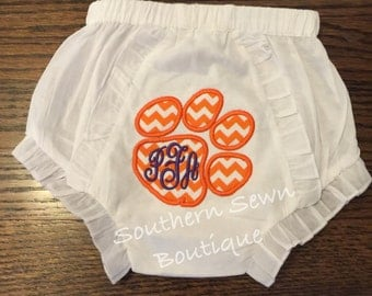 Tiger Paw Appliqué Monogram Baby Bloomers