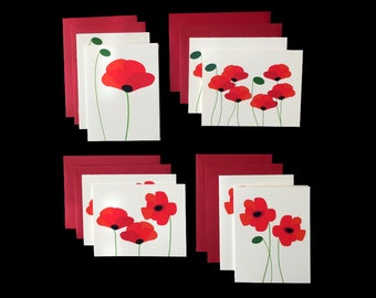 Red Poppies - 2 Sets of 4 Greeting Cards w/ Red Envelopes
