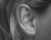 Perfect Ear Climbers - Sterling Silver - Hammered - Shiny Matte or Oxidized - Ear Pins - Ear Crawlers - Renegade Silver - Ready to Ship