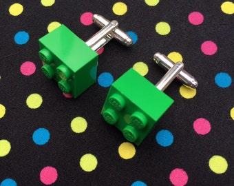 Bright Green Brick Cufflinks...Handmade using LEGO® parts