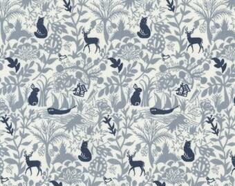 Enchanted Woodland Fabric from Dear Stella Fabrics; Secret Forest in Grey.  Bunnies and deer... beautiful Woodland fabric.