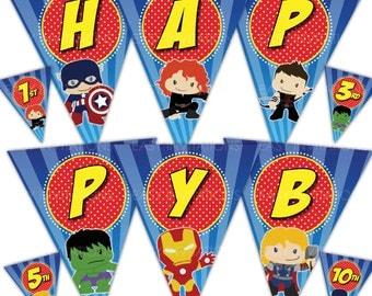Avengers Bunting Birthday Banner Instant Download Flag Super Hero