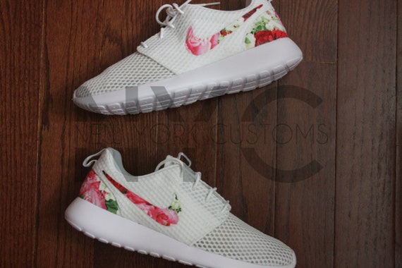 on sale Nike Roshe One Run BR White Bouquet of Roses Custom