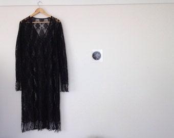 Black Lace Fringed Robe // Free Size