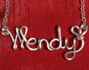 Name Necklaces,Wendy necklace,Personalized wedding jewelery,Birthday gift,Bridesmaid necklace,Custom Name necklace
