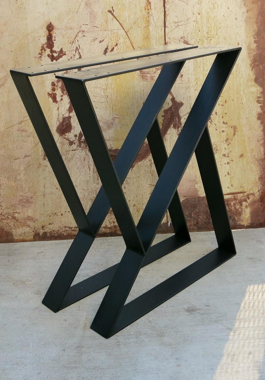 z metal table legs set of 2 top plate. Black Bedroom Furniture Sets. Home Design Ideas