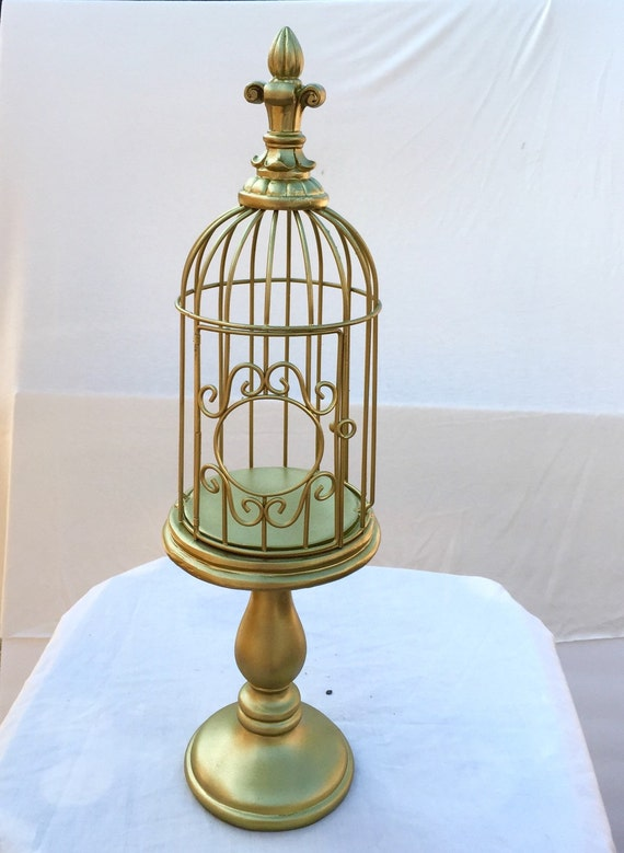 sale gold decorative bird cage on stand by rlordierdesigns. Black Bedroom Furniture Sets. Home Design Ideas