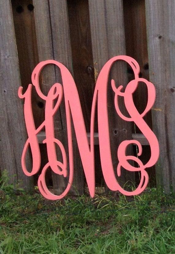 Painted Wooden Monogram Monogram Wall Hanging Wedding