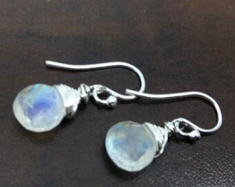 Rainbow Moonstone Earrings,  Genuine Rainbow Moonstone, Sterling Silver earrings, June birthstone, Rainbow Moonstone Briolette