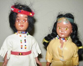 Vintage Plastic Indian Dolls, Leather Clothes, With Papoose