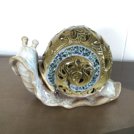 Vintage Ceramic Snail Ornate With Mosaic Large Size Home Decor