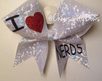 I heart nerds cheer bow