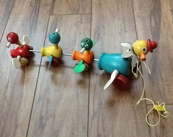 Sale* Vintage wooden and plastic pull duck pull toy with revolving parts