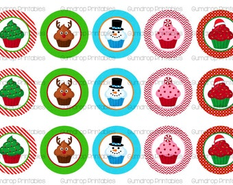 "Christmas Xmas Cupcakes Digital Bottle Cap Images ~ Instant Download ~ 1"" Graphic ~ Hairbow Centers ~ Printable Cute Images XM_159"