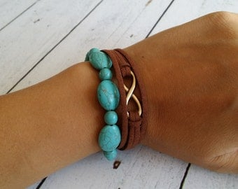 Infinity bracelet with turquoise ceramic beads
