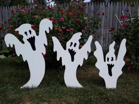 Halloween Rising Ghosts Outdoor Wood Yard Art Lawn