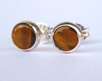 Tigers Eye Stud Earrings .. Tiger eye Studs .. Small Stud Earrings .. Sterling Silver Studs 5mm