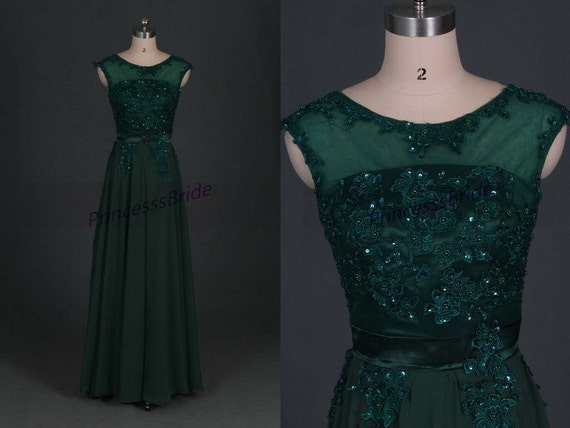 2016 long forest green chiffon prom dresses for by PrincesssBride