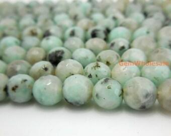 "15.5"" Sesame jasper 6mm/8mm/10mm/12mm round faceted beads, Kiwi jasper round gemstone beads, green with black spot,  jasper supply"