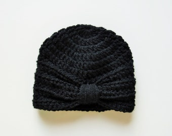Handmade Crochet Baby Turban Style Hat in Black Made to order, Many Colours Available, great photo prop! Baby Gift, Baby Showers