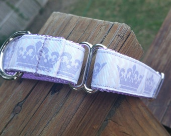 Lavendar Princess Crowns Martingale Collar - Matching Leashes Available