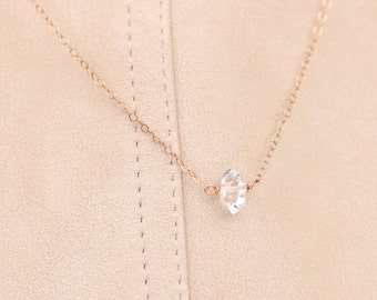 Minimal Herkimer Diamond Necklace, Delicate Gemstone Necklace, Simple Raw Crystal Necklace, Gift for Her, Perfect Short Layering, Rose Gold