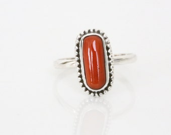925 Sterling Silver Coral  Ring Oval , Red Coral Ring, Silver ring, Red Bamboo COral Ring