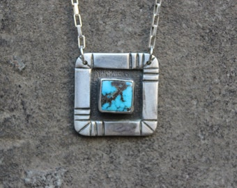 Vintage Sterling Silver and Turquoise Square Pendant on Sturdy Chain