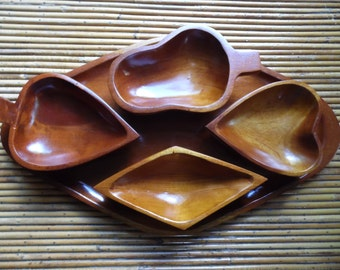 Midcentury Card Suit Wood Tray and Bowls, Poker Snack Set, Diamond, Heart, Spade, Club Bowls, Serving Dishes, Card Parties, Retro Bar Decor