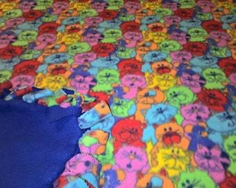Multicolor Cat Print No Sew Fleece Blanket