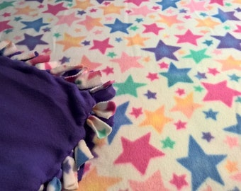 Colorful Stars No Sew Fleece Blanket