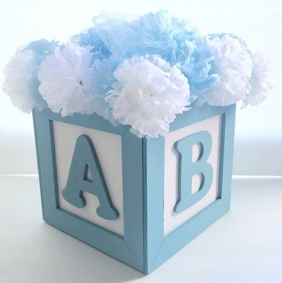abc baby block centerpiece 8 x8 great for baby shower or birthdays