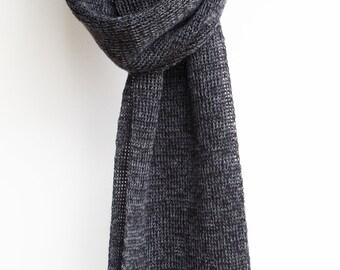Boyfriend Gift, Unisex scarf, Mens scarf, wool scarf, charcoal, knitted scarf, Australian made merino wool scarf