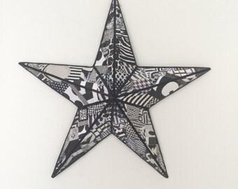Metal Art, Metal Star, Metal Wall Art, Decoupaged Metal Wall Art, Metal Star Wall Art, Decoupaged Metal Star Wall Art