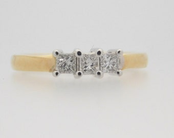 0.50 Carat T.W. Ladies Three Stone Princess Cut Diamond Ring 14K Yellow