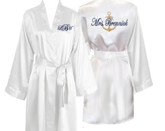 Personalized Knee Length Satin Bridal Robe with Anchor and Name on the Back and Monogram on the Front, nautical robe, bridesmaid robes, gift