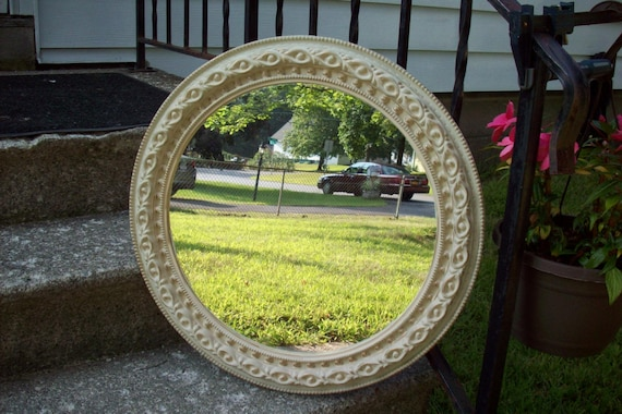 Large round ornate wall mirror in beige shabby beige and gold for Large round decorative mirror