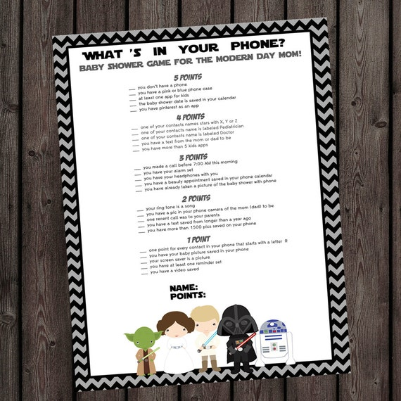 star wars baby shower phone game starwars baby shower whats in your