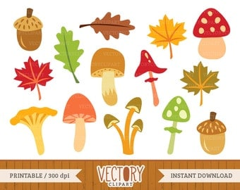 14 Mushroom Clipart, Fall Clipart, September, Mushroom Clipart, Fall Colors, Fungus, Autumn Leaves, Leaf Clipart by Vectory