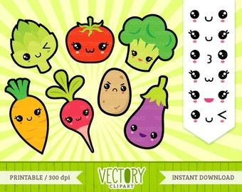 13 Kawaii Vegetable Clipart, Kawaii Healthy Food Clipart, Kawaii Food Clipart, Kawaii Carrot, Kawaii Tomato, Kawaii Emoticons by Vectory