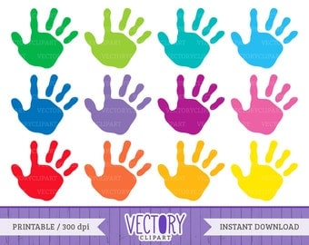 12 Handprint Clipart Set, Kids Handprint Images, Kids Hands, Hand Prints Children, Handprint Clip Art by VectoryClipart
