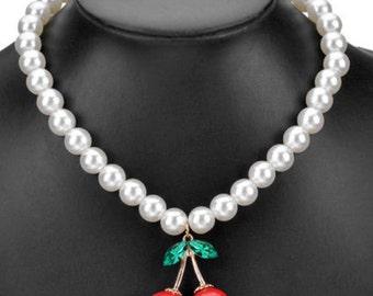 Choker statement necklace beads double cherry red rhinestone