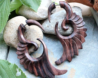 Wood Earrings, Narra Wood Fake Gauges, 20G Organic Fake Gauges Earrings, Sold as Pair