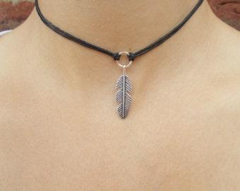 silver feather choker necklace boho jewellery hippie jewellery feather necklace silver choker black cord choker gift idea for women