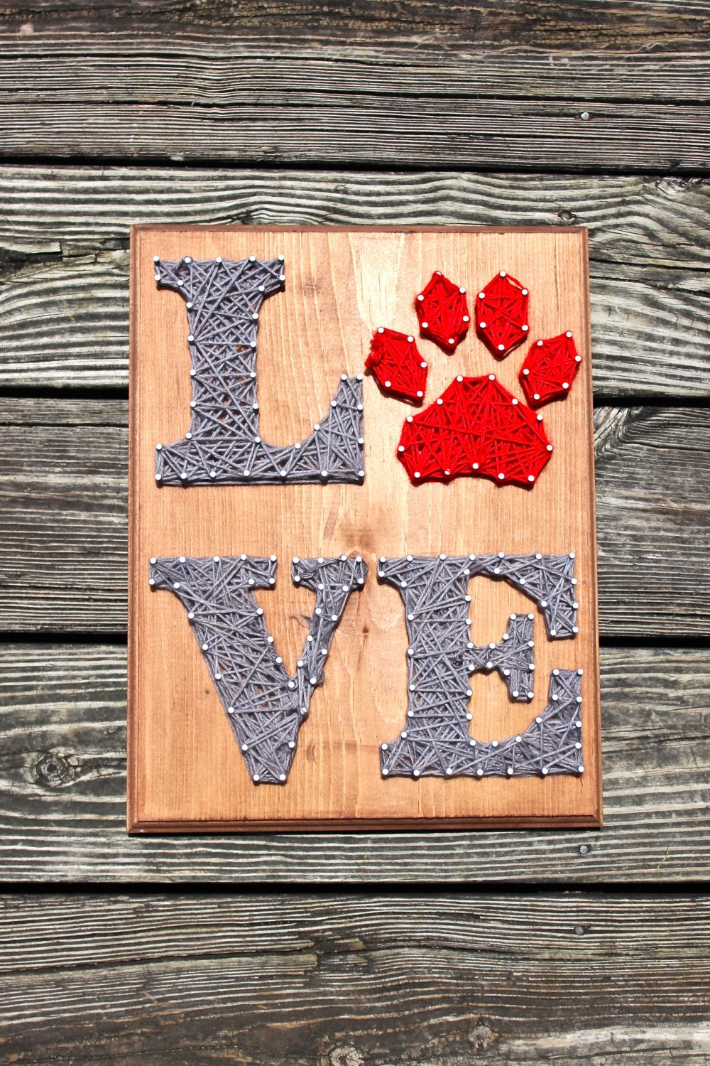 Dog Paw LOVE Nail And String Wall Art Decor By