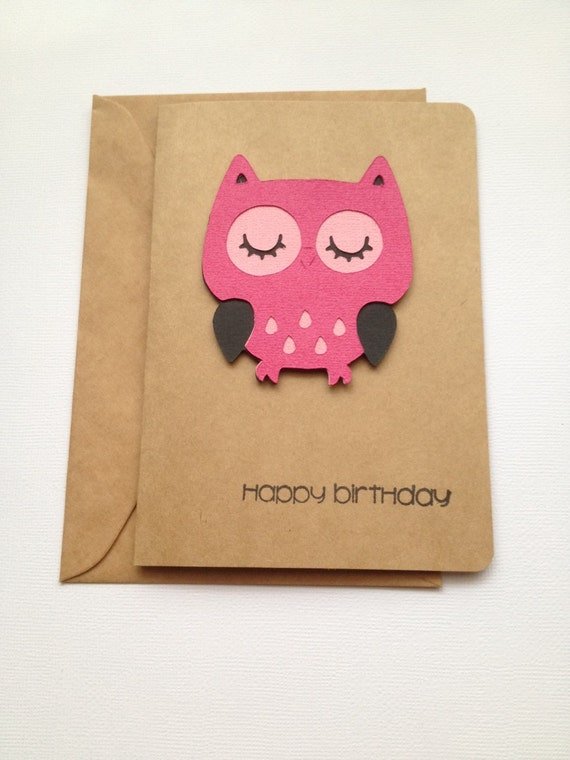 Owl Birthday Card, Female Birthday Card, Pink Happy Birthday Card, Friend Birthday Card, Sister Birthday Card, Kraft Brown Birthday